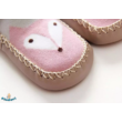 Csúszásgátlós babacipő rózsaszín rókás mintával