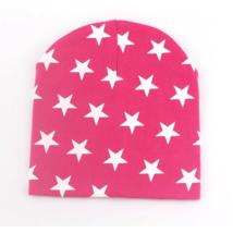 Babasapka rózsaszín csillag mintával