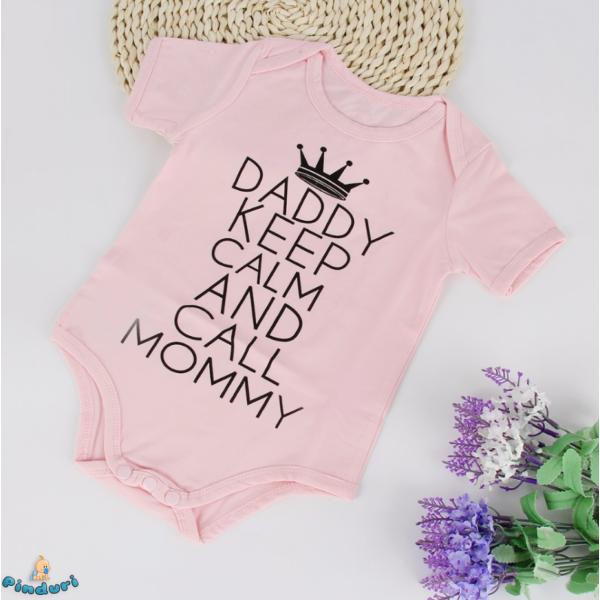 "Baba body felirattal ""Daddy keep calm and call Mommy"""