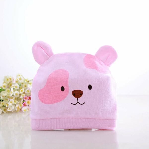 Újszölött sapka - Rózsaszín macis babasapka
