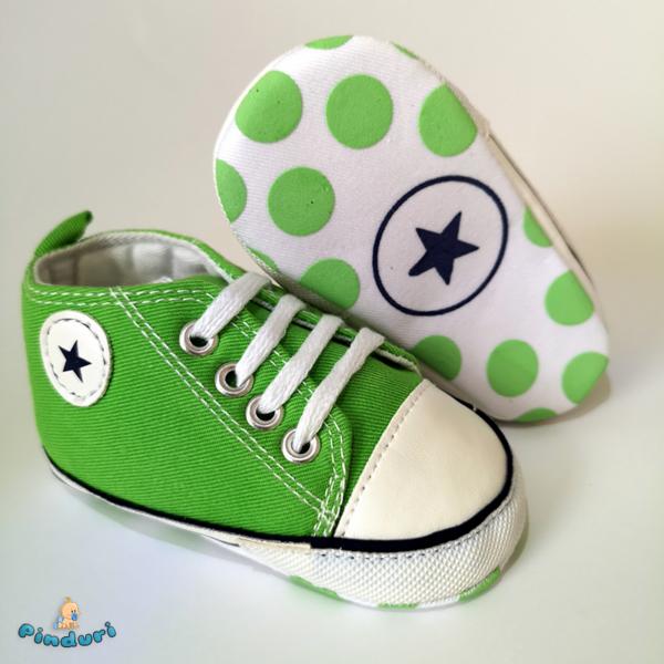 Tornacipő babacipő kocsicipő zöld 0-6 hós